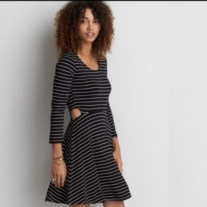 American Eagle Soft and Sexy Black Striped Dress